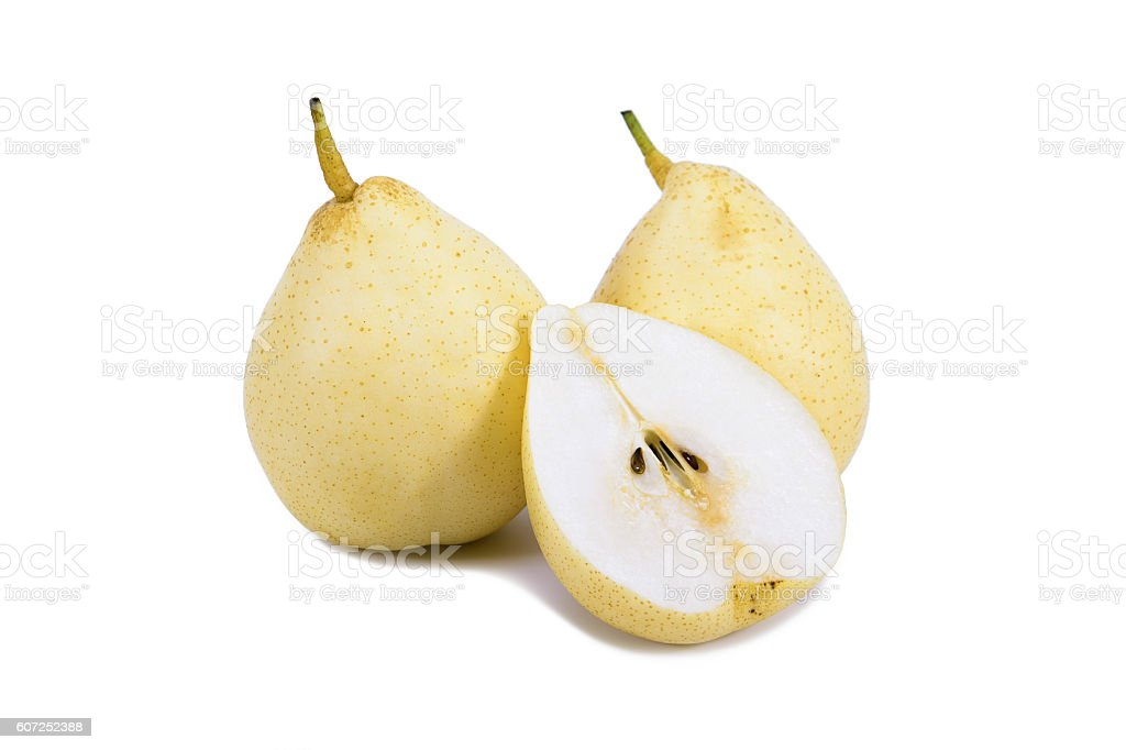 Nashi pear sliced isolated on white background stock photo