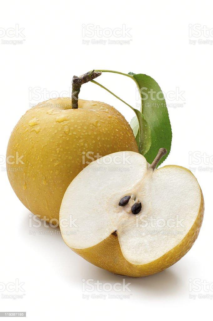 Nashi pear whole and half on white background stock photo