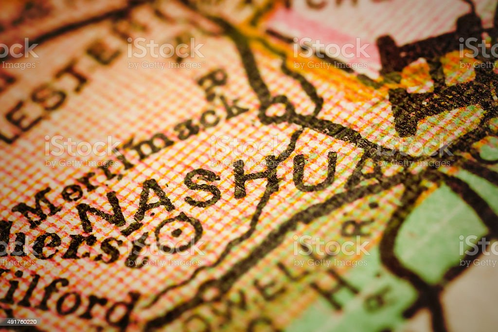 Nashua, New Hampshire on an Antique map stock photo