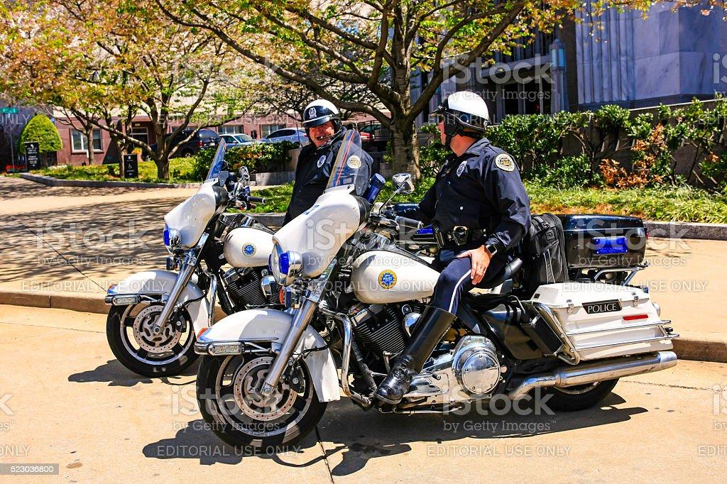 Nashville motorcycle cops stock photo