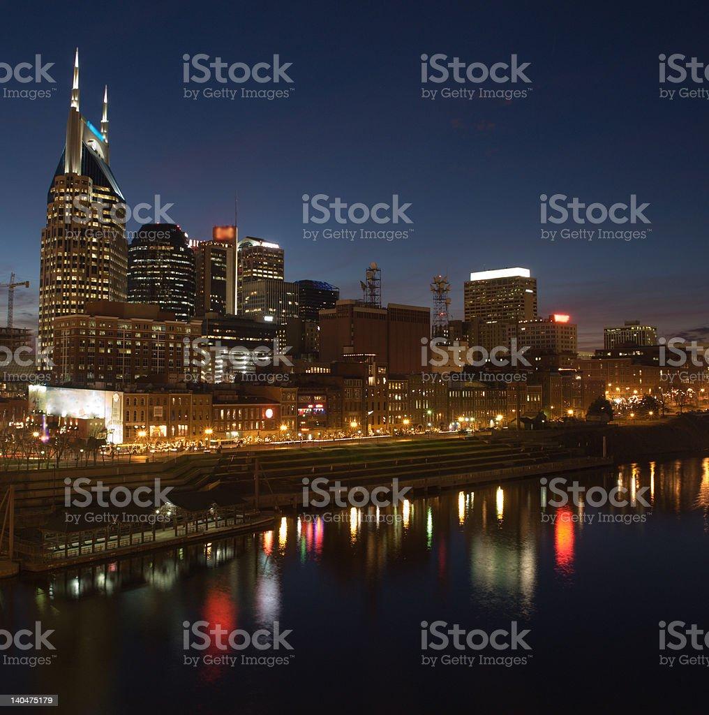 Nashville Night Cityscape royalty-free stock photo