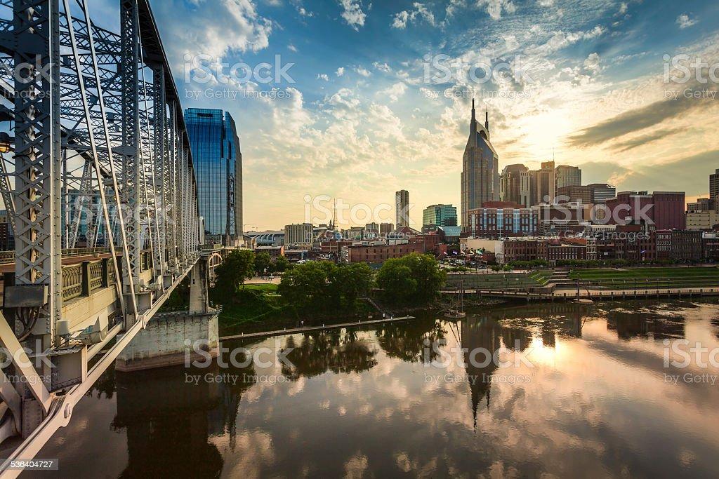 Nashville Skyline and Bridge at Sunset,Tennessee, USA stock photo