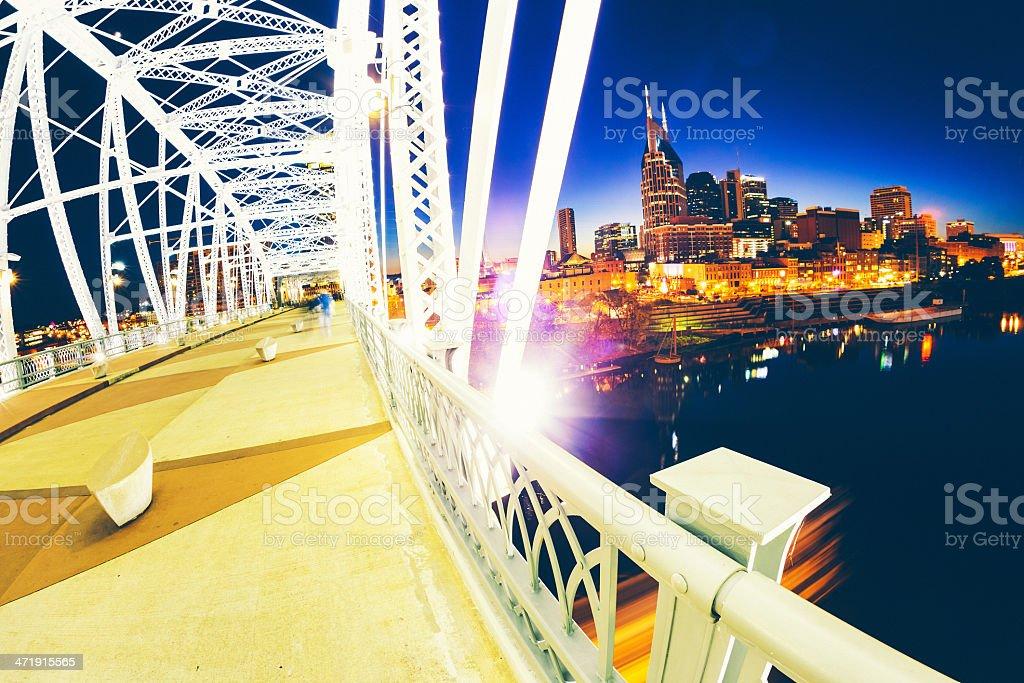 Nashville Skyline by Night stock photo