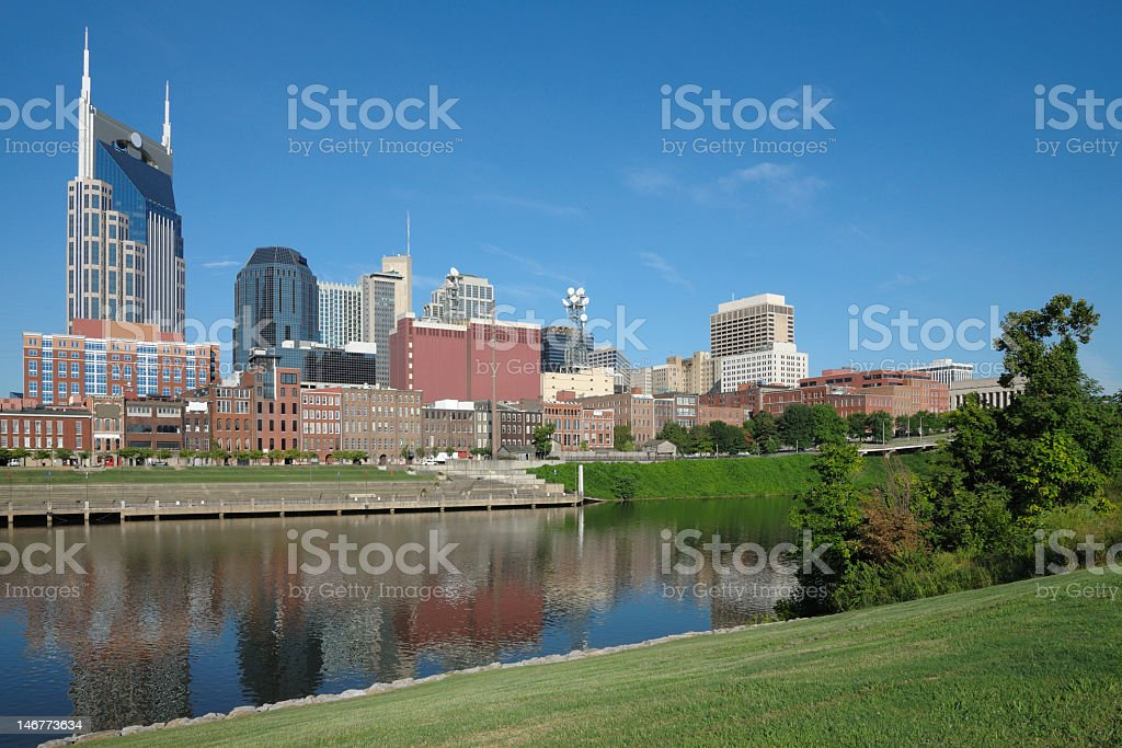 Nashville skyline reflected in water in foreground royalty-free stock photo