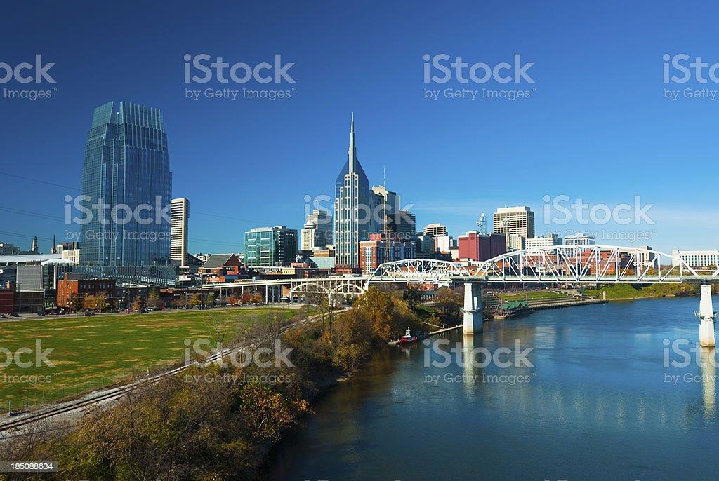 Nashville skyline, river, and bridge, wide angle royalty-free stock photo