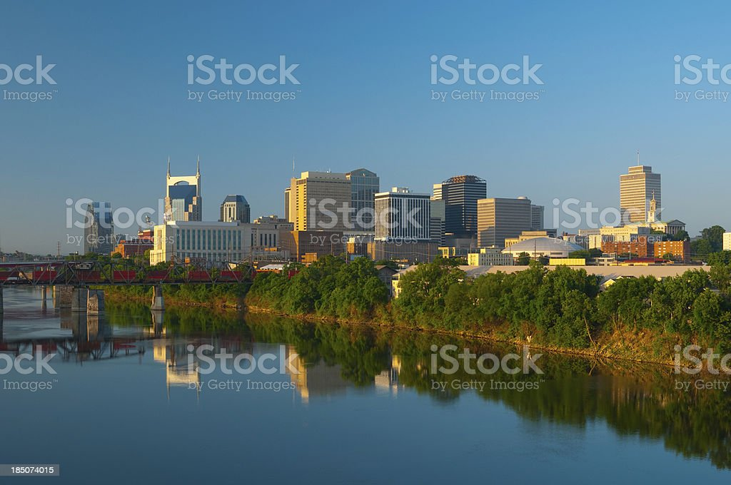 Nashville skyline, train, and river royalty-free stock photo