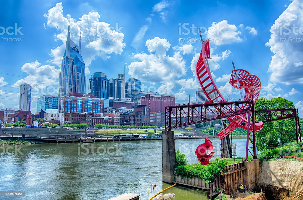Nashville, Tennessee downtown skyline at Cumberland River. stock photo