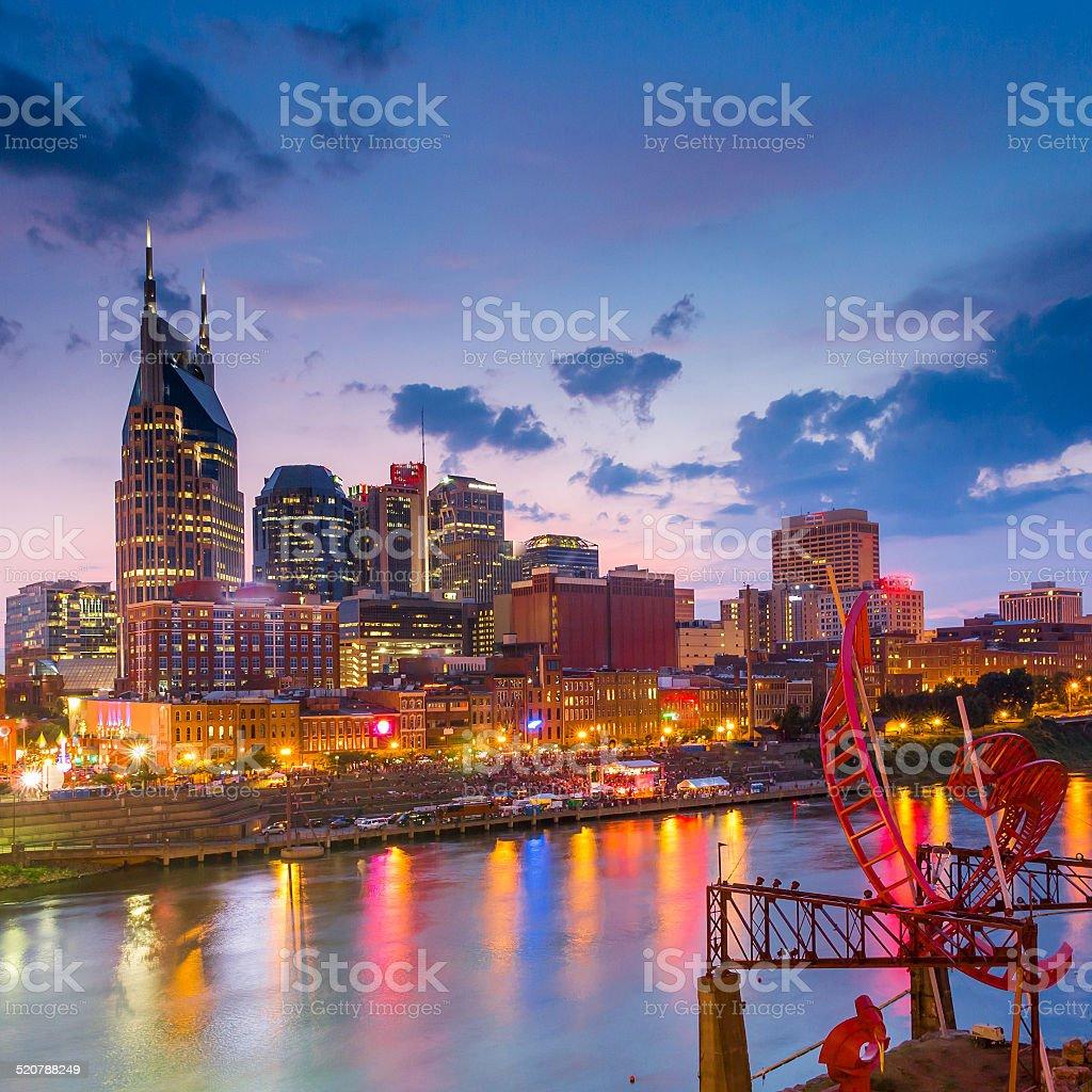 Nashville, Tennessee downtown skyline at twilight stock photo