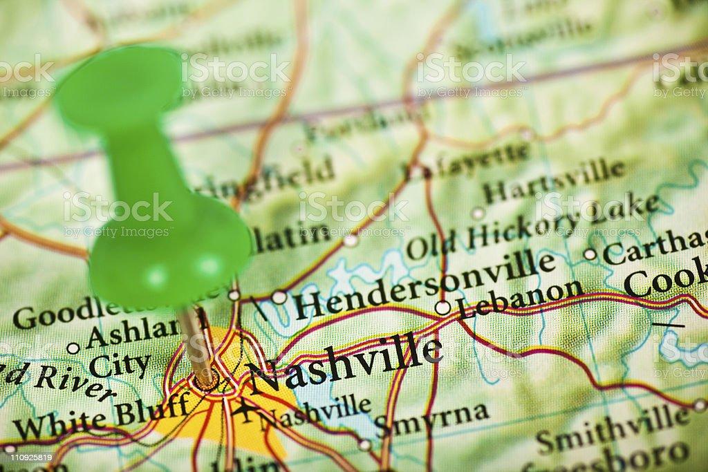 Nashville, TN map royalty-free stock photo