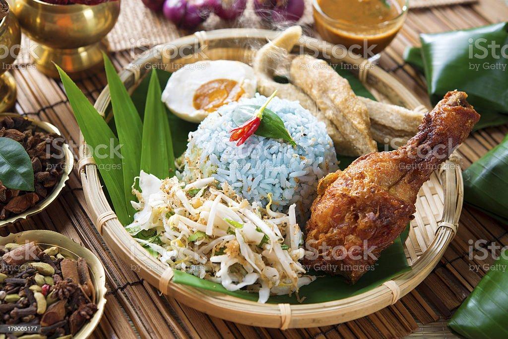 Nasi kerabu or ulam stock photo