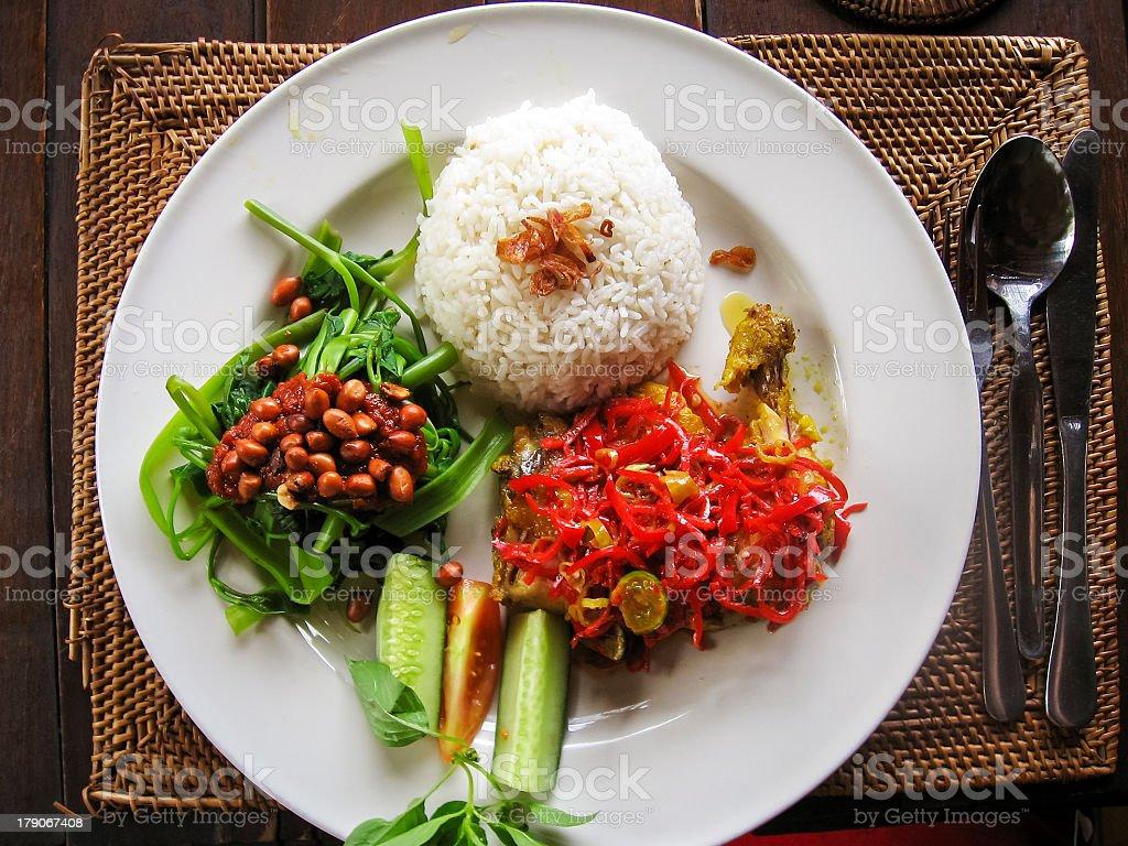 nasi lemack inodesian food bali royalty-free stock photo