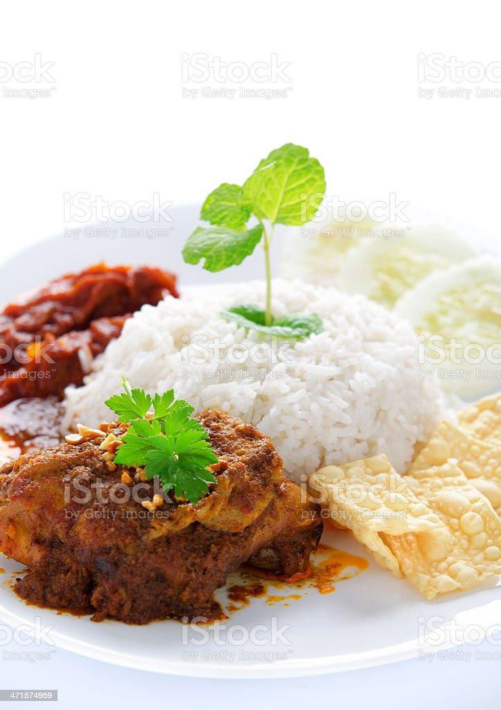 Nasi lemak malay dish stock photo