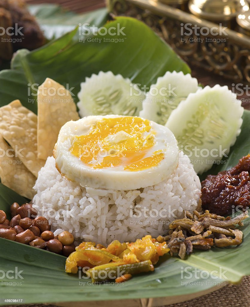 nasi lemak , malay traditional rice meal served with egg royalty-free stock photo