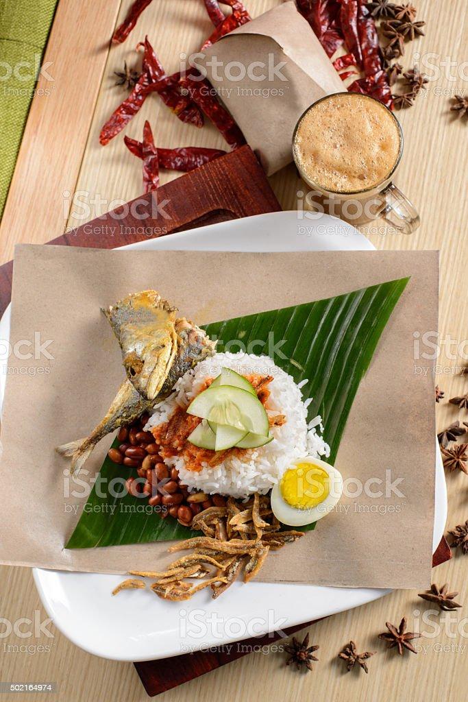 Nasi Lemak, malaysia favorite food. stock photo
