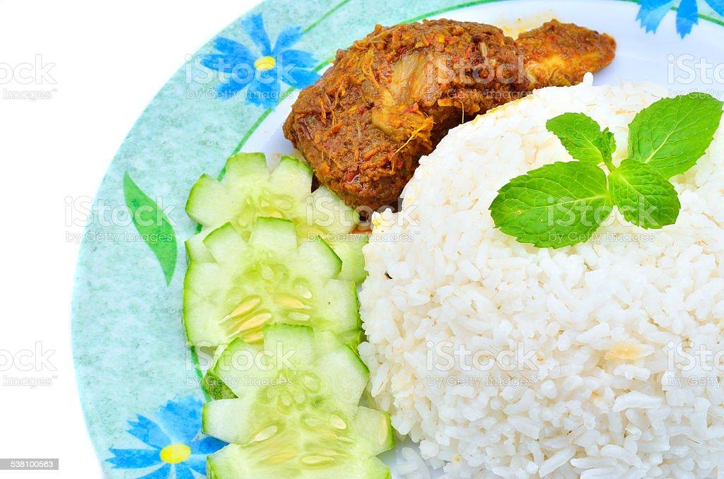 Nasi lemak traditional malaysian spicy rice dish stock photo