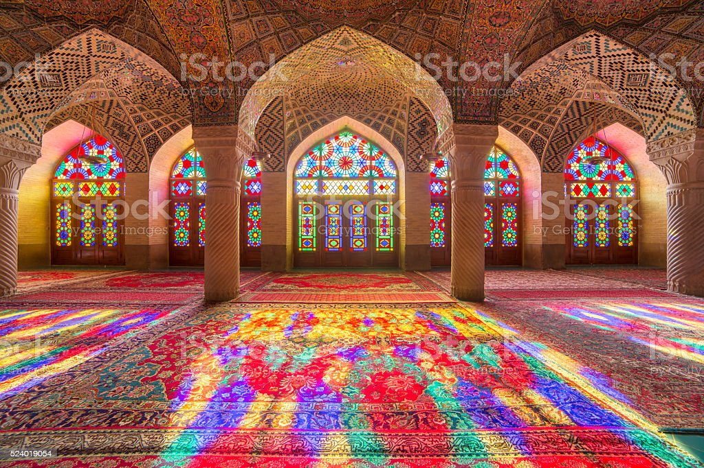 Nasir Al-Mulk Mosque (Pink Mosque) in Shiraz, Iran. stock photo
