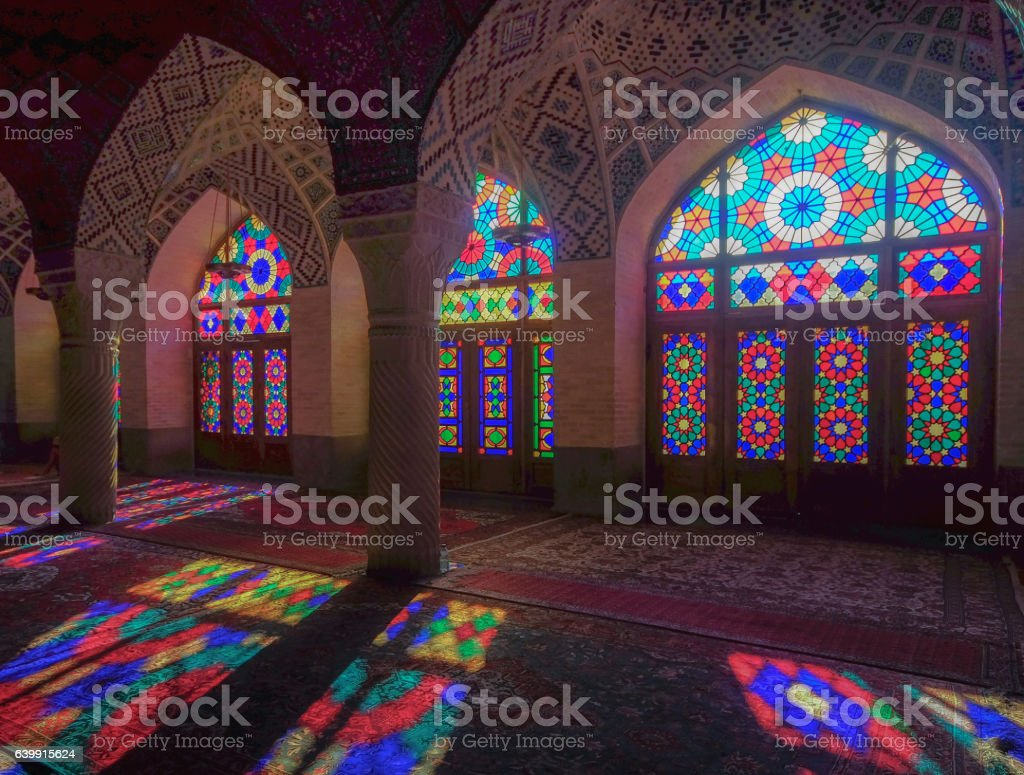 Nasir ol Molk Mosque is a traditional mosque in Shiraz, Iran(Pink mosque) stock photo