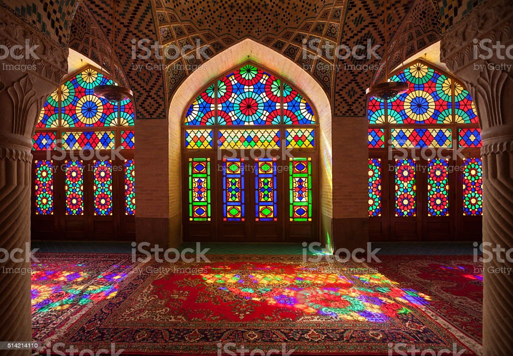Nasirolmolk Mosque in Shiraz with Colorful Stained Glass Windows stock photo