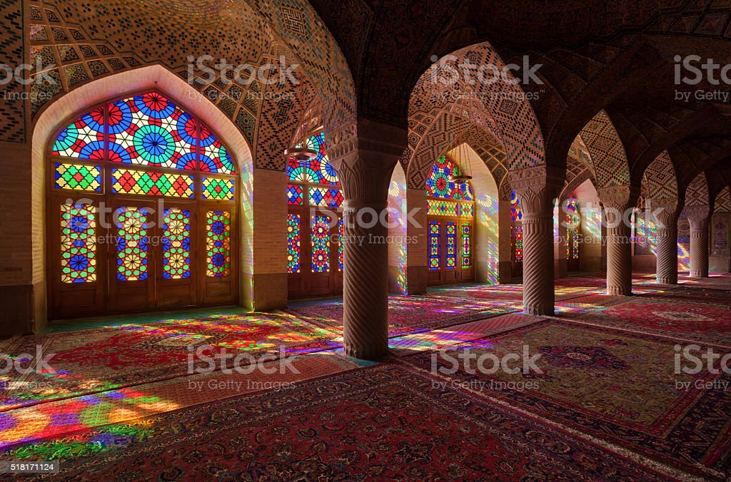 Nasirolmolk Mosque with Colorful Stained Glass Windows in Shiraz stock photo