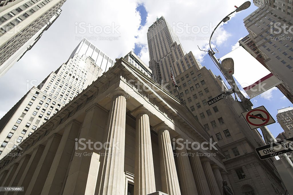 Nassau and Wall Street Skyline royalty-free stock photo