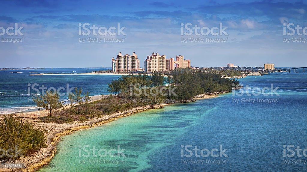 Nassau, Bahamas Atlantis Resort in the Caribbean with beach stock photo