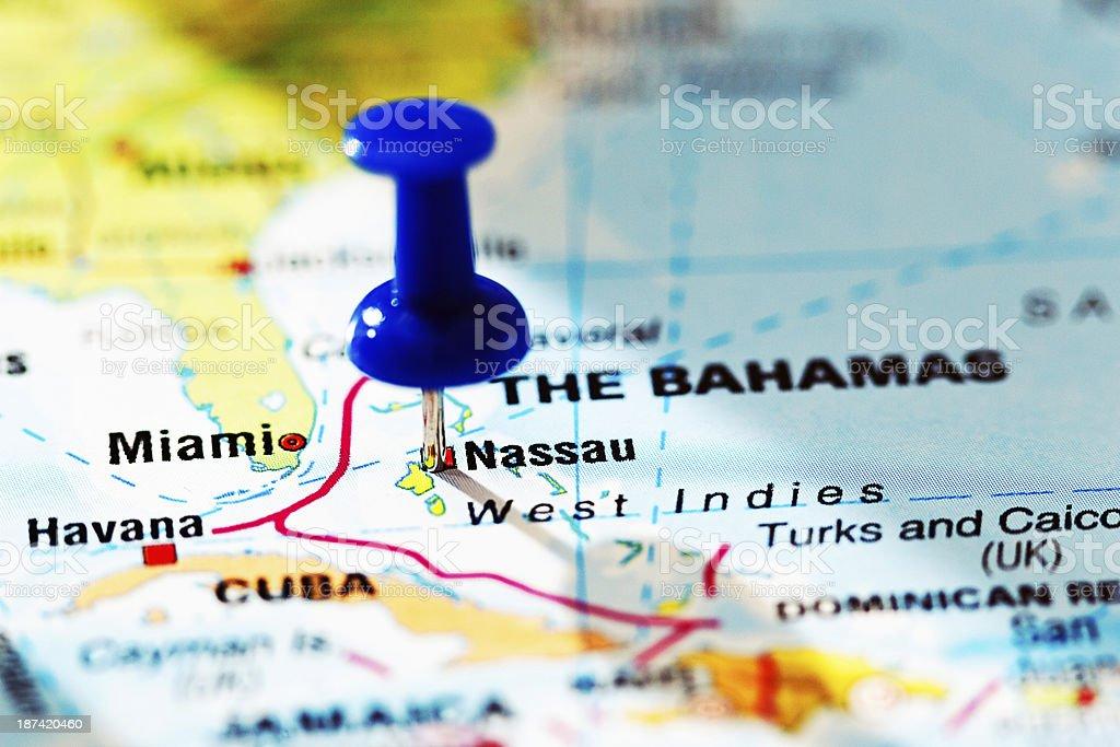 Nassau, capital of The Bahamas, marked by blue pushpin royalty-free stock photo
