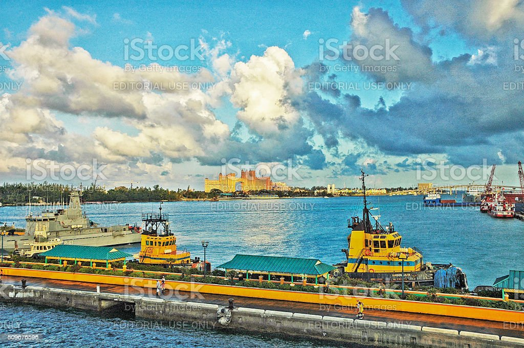 Nassau Harbor with various watercraft boats and Background Views stock photo