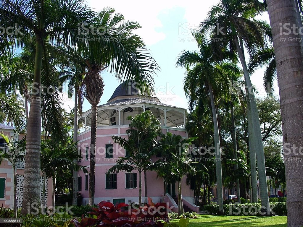 Nassau's Pink Library royalty-free stock photo