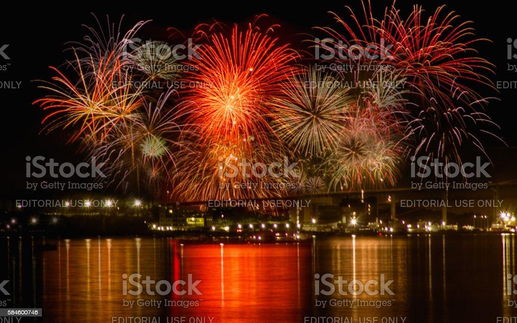 Natal Day Fireworks stock photo