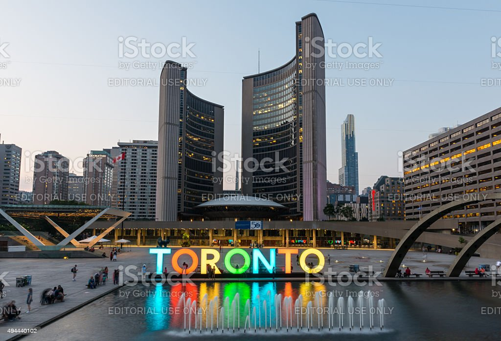 Nathan Phillips Square and City Hall on Toronto stock photo