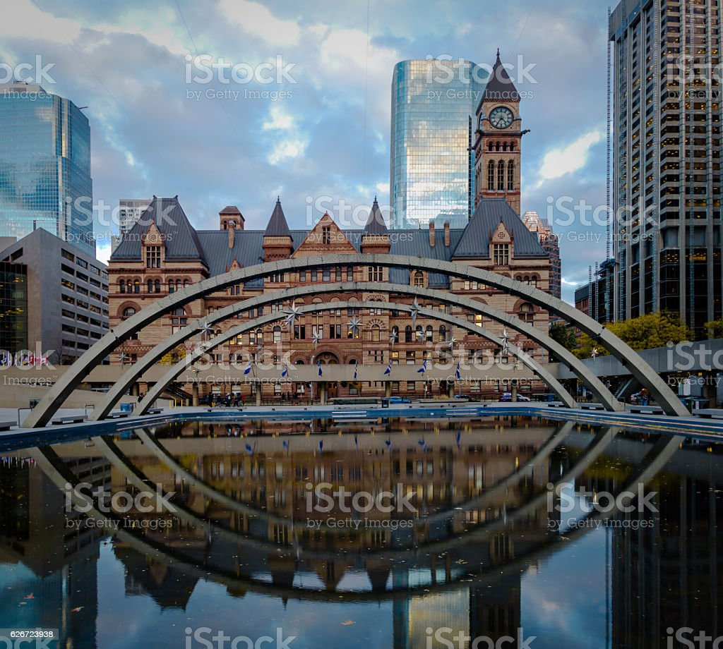 Nathan Phillips Square and Old City Hall - Toronto, Canada stock photo