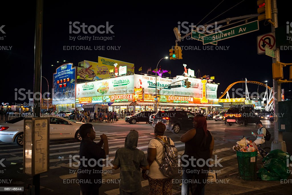 Nathan's Famous Hot Dogs on Coney Island stock photo