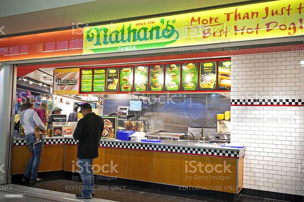 Nathan's Famous hotdogs at Airport stock photo
