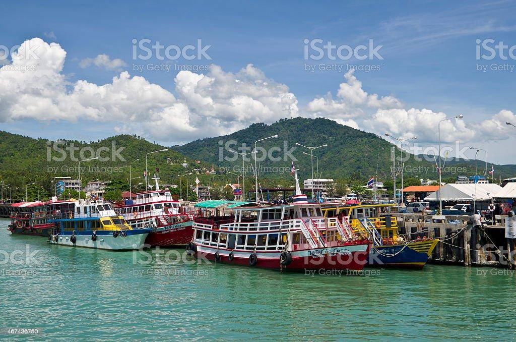 Nathon Harbour in Koh Samui Thailand stock photo