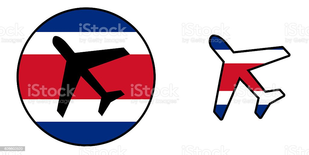 Nation flag - Airplane isolated - Costa Rica stock photo