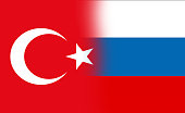 Nation flag of Turkey vs flag of Russia