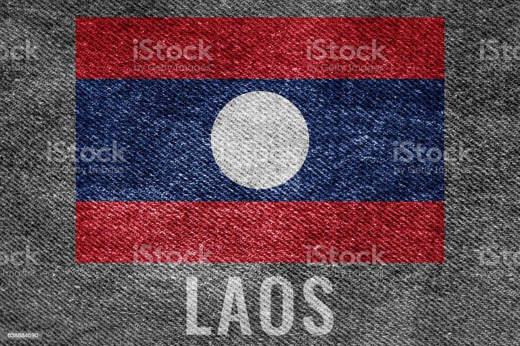 LAOS nation flag on jean texture design stock photo