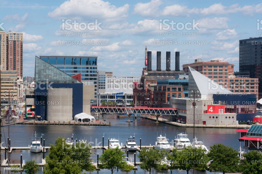 National Aquarium and Inner Harbor in Baltimore, MD stock photo