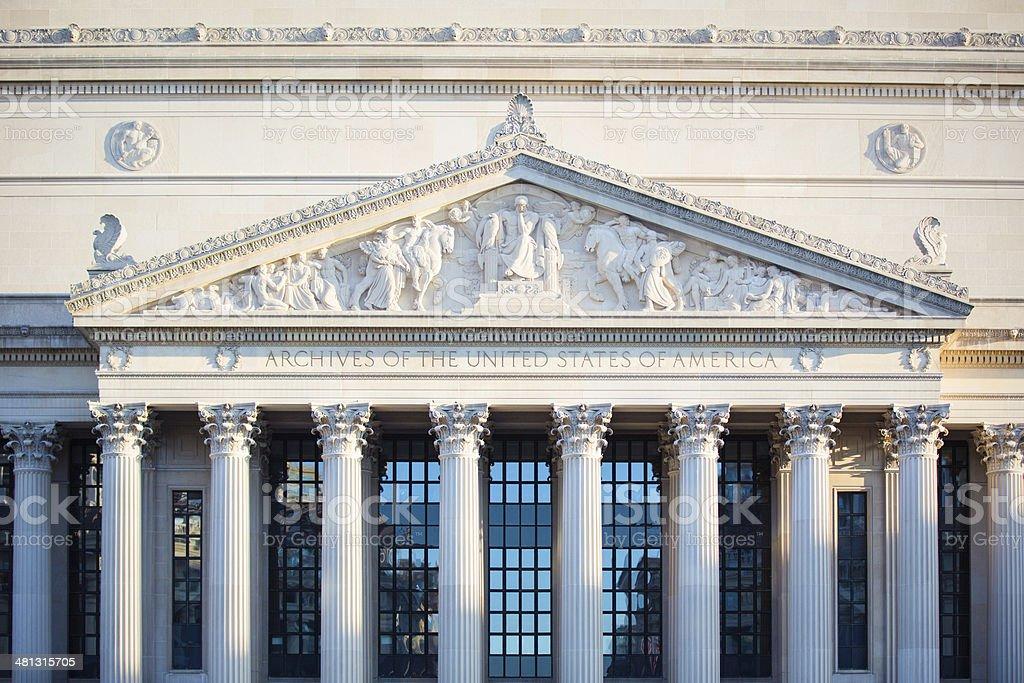 National Archives of the US, Washington DC stock photo