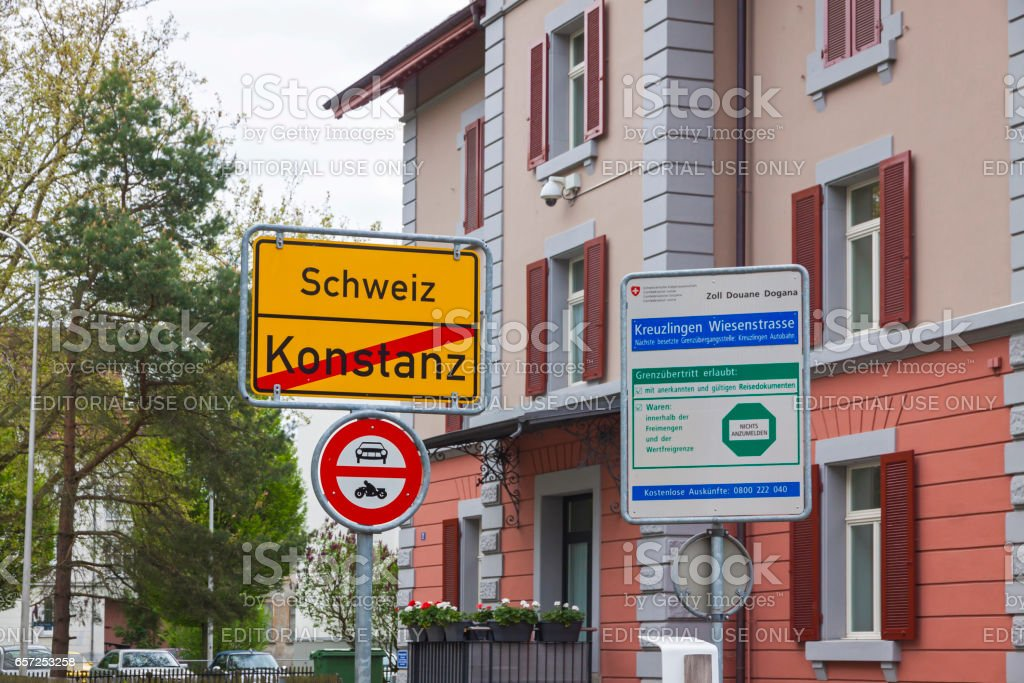 National border between Germany and Switzerland stock photo