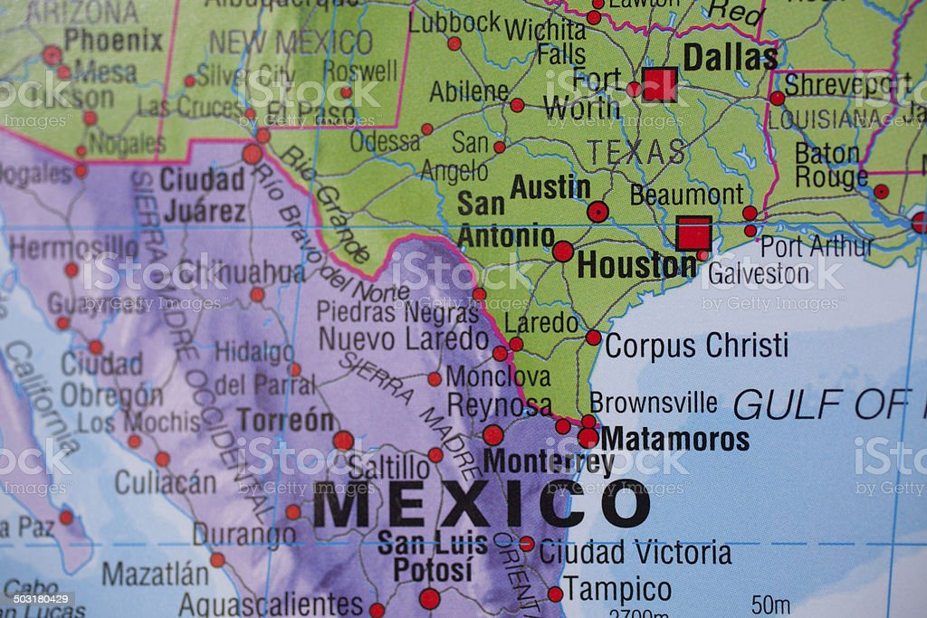 National borders:  Map of Mexico, Texas, USA border. stock photo