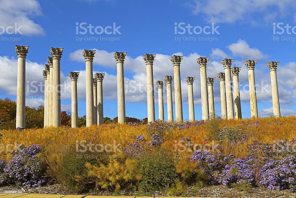 National Capitol Columns at sunset. stock photo