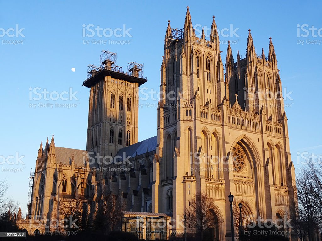National Cathedral and Moon stock photo