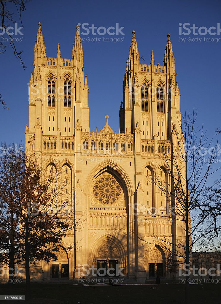 National Cathedral at Dusk stock photo