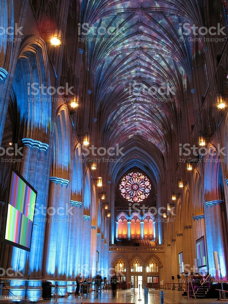 National Cathedral Lightshow stock photo