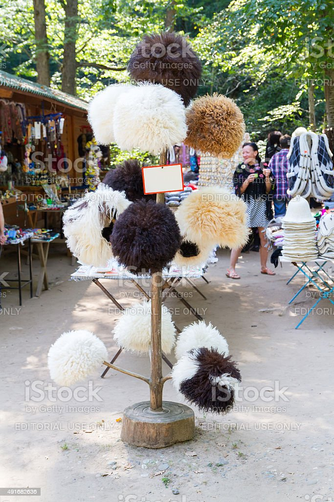 National Caucasian fur hat stock photo