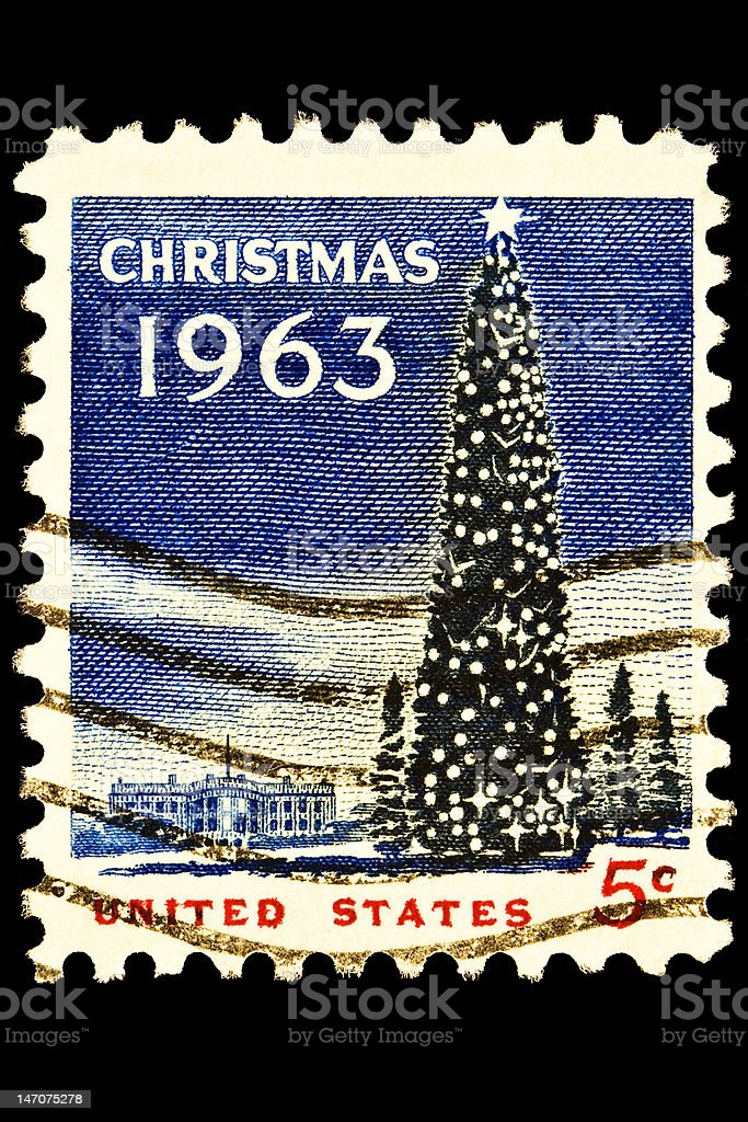 National Christmas Tree and White House Stamp royalty-free stock photo