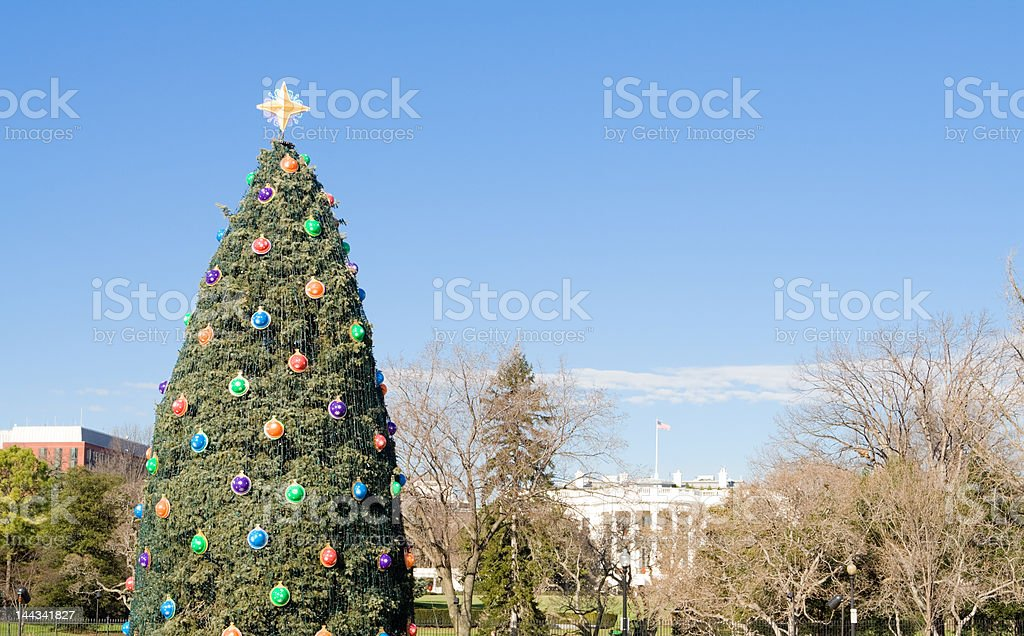 National Christmas Tree in Front of White House, Washington DC royalty-free stock photo