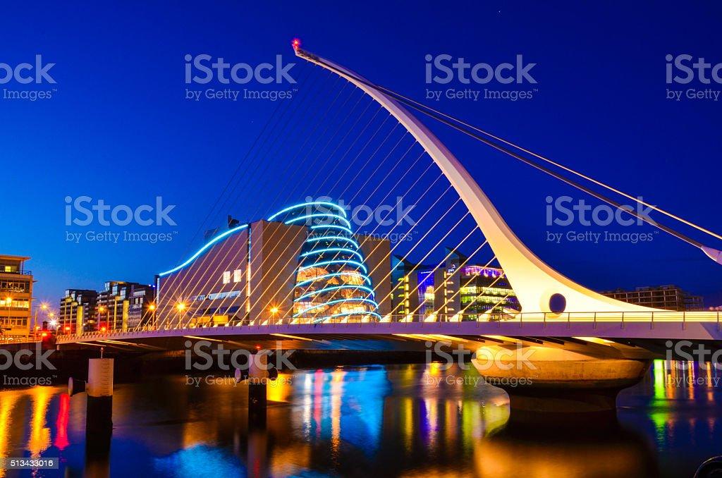 National Convention Centre and Samuel Beckett Bridge stock photo