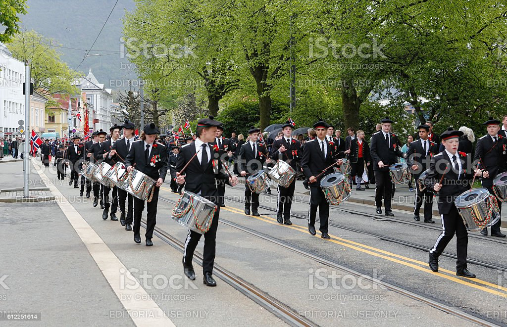 National day in Norway. Norwegians at traditional celebration and parade. stock photo